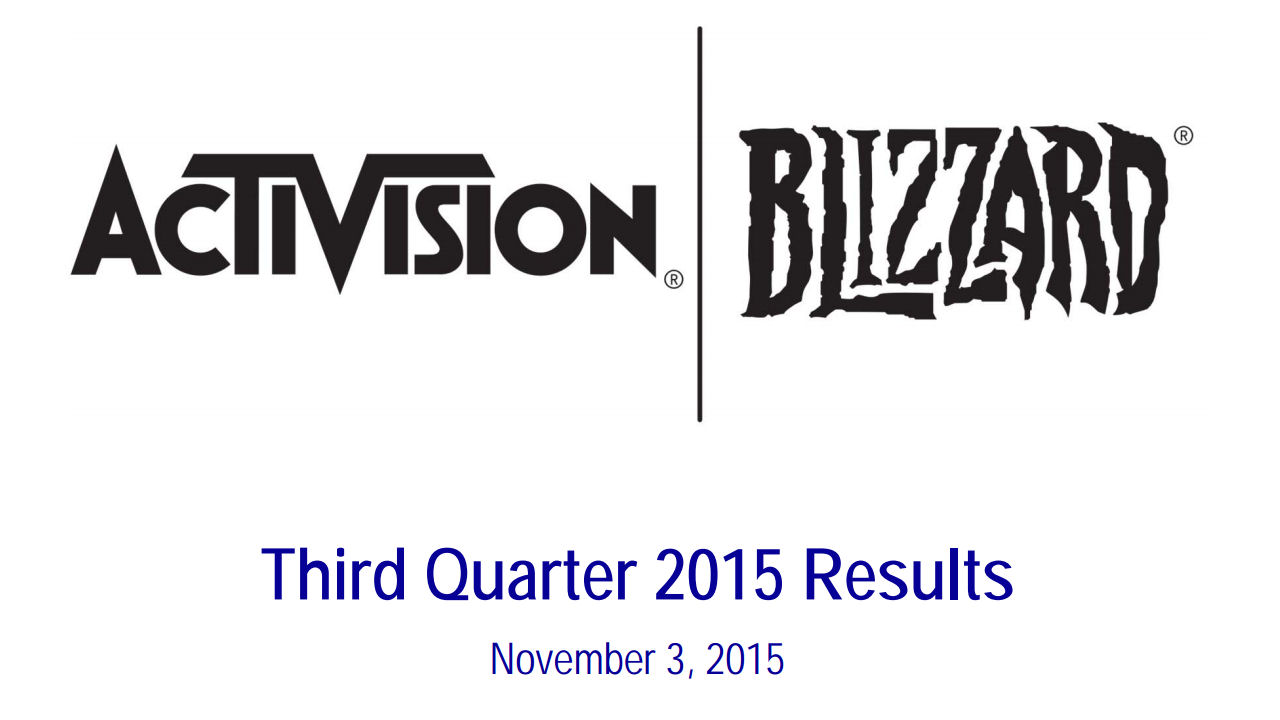 Activision Blizzard release their financial results for Quarter 3. Numbers for all games, good-bye World of Warcraft subscription numbers, and enter the King!